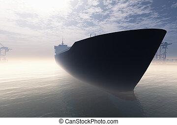 navio carga, em, muito, nebuloso, industrial