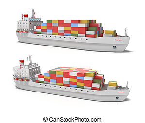 navio carga, fundo branco