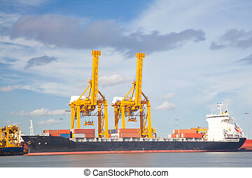 navio carga, industrail, recipiente, frete