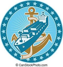 navio carga, recipiente, âncora, bote