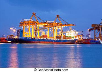 navio carga, recipiente, frete