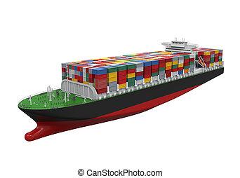 navio carga, recipiente, isolado