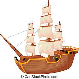 navio, caricatura, isolado
