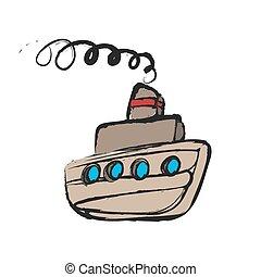 navio, caricatura, steamship