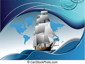 navio, cobertura, antigas, velejando, folheto