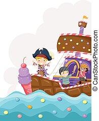 navio, crianças, stickman, pirata, doce