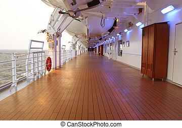 navio cruzeiro, convés, com, madeira, marrom, chão, e,...