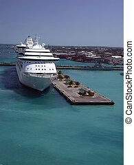 navio cruzeiro, em, porto