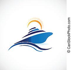 navio cruzeiro, ensolarado, ondas, logotipo