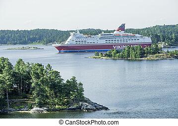 navio cruzeiro, mar, báltico