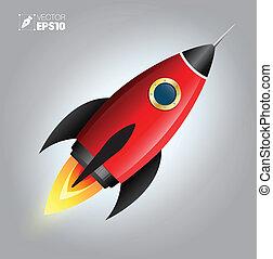 navio, cute., caricatura, foguete, espaço