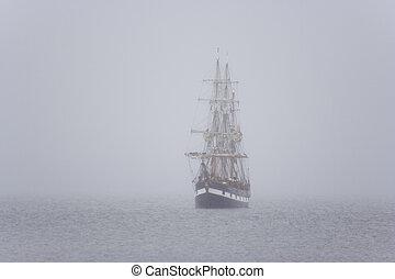 navio, em, a, névoa
