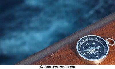 navio, em movimento, mar, compasso