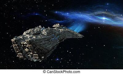 navio, espaço