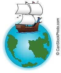 navio, globo