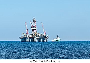 navio, guarneça, óleo, errv, (stand-by)