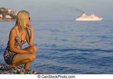 navio, horizonte, cruzeiro