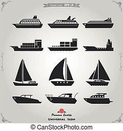 navio, jogo, ícones