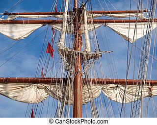 navio, mastro, detalhe