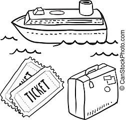 navio, objetos, esboço, cruzeiro