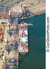 navio, offloading, recipientes
