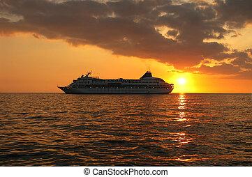 navio, pôr do sol, cruzeiro