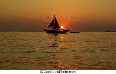 navio, pôr do sol, velejando, mar