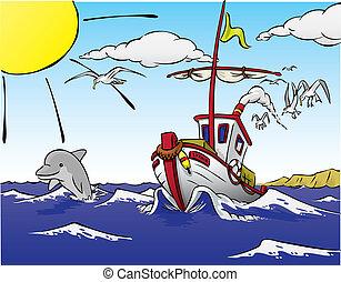navio, partindo, para, peixe, com, golfinho
