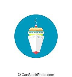 navio passageiro, ícone, cruzeiro