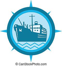 navio passageiro, retro, bote, carga