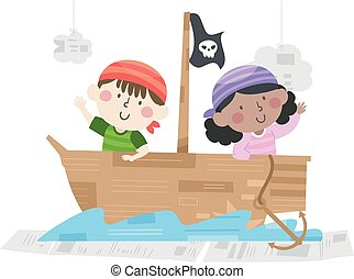navio, pirata, crianças, recicle, ilustração