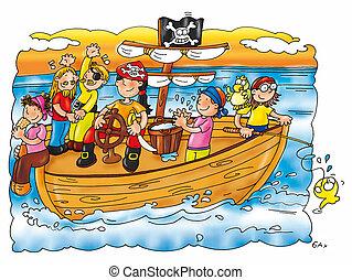 navio, piratas