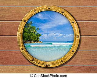 navio, porthole, com, ilha tropical, atrás de