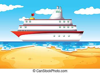 navio, praia