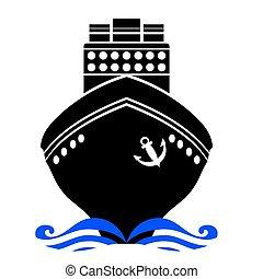 navio, pretas, silueta
