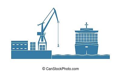 navio recipiente, em, a, port.