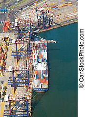 navio, recipientes, offloading