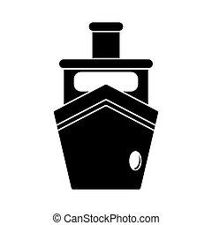 navio, silueta, vapor, bote, transporte