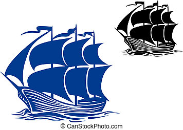 navio, vela, bergantim