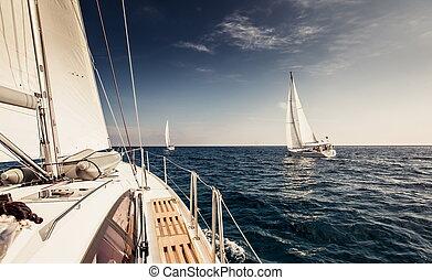 navio, velas, iates, velejando, branca
