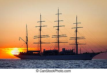 navio, velejando