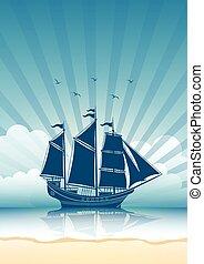 navio, velejando, fundo