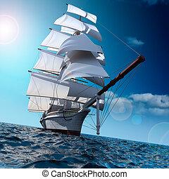 navio, velejando, mar