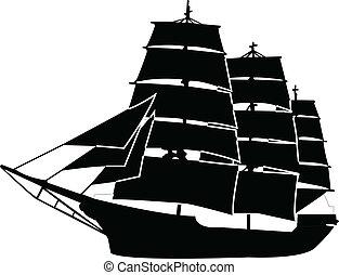 navio, vetorial, -