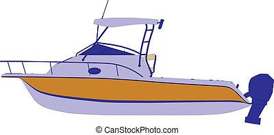 navio, vetorial, iate, bote