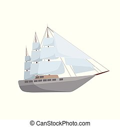 navio, vetorial, isolado