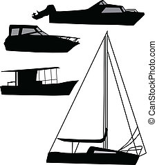 navio, vetorial, silueta