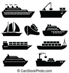 navios, barcos, carga, logística, e, despacho, ícones