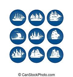 navios, emblemas, velejando