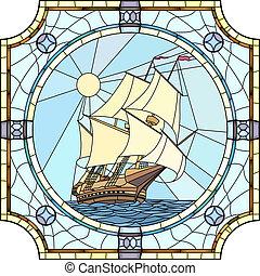 navios velejando, de, a, 17o século.